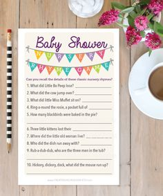 Coupon code: FREEGAME Baby Shower Games - Baby Shower Ideas - Nursery Rhyme Baby Shower Game by CreativeUnionDesign.Etsy.com