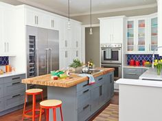 #Kitchen remodel tip: Wood-top islands are more practical than you think. #hgtvmagazine http://www.hgtv.com/design/rooms/kitchens/8-lessons-from-a-kitchen-remodel?soc=pinterest