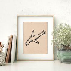 Sketch Art Print Sea Lion Print Sea Lion Art by PrintsbyJettyHome