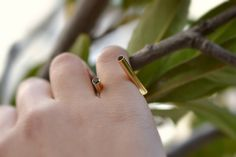 Double Diamond Ring Solid 18K Gold Ring Gold Tube Ring Boho Diamond Ring Minimal Diamond Ring Simple Geometric Ring Gold Best Ring by ViazisJewelry on Etsy