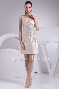 A-line Wedding Guest Dresses One Shoulder Short/Mini Taffeta Champagne 13001010006