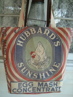 Plain & Simple Tote made from vintage Hubbard's feed sack.  www.ginnymae.etsy.com