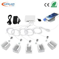 Multi port anti theft security devices with charging alarm for mobile merchandise retail open display