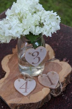Rustic Wooden Heart Table Numbers set of 5 by Rusticblend on Etsy