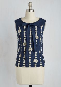 Orienteer and Now Top. As someone who lives in the moment, you choose this nautical top to make every moment magnificent. #blue #modcloth