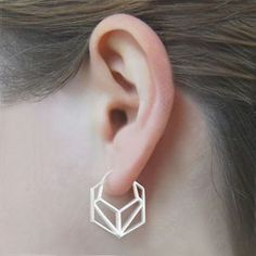 Geometric Hexagonal Sterling Silver Hoop Earrings #Otisjaxon #Jewellery