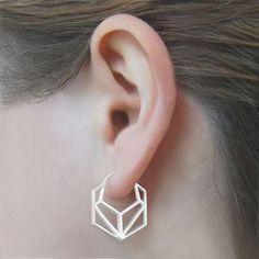 Geometric Hexagonal Sterling Silver Hoop Earrings #Otisjaxon #Jewellery