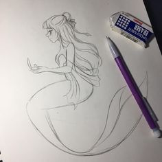 I think I just started a project for myself, and I'm reeeeaaally looking forward to it! But I still haven't gotten a replacement pen so I can't ink anything.  Just out of curiosity, what's your birthstone?  Mine is Opal.  #sketch #wip #drawing #illustration #art #pearl #mermaid