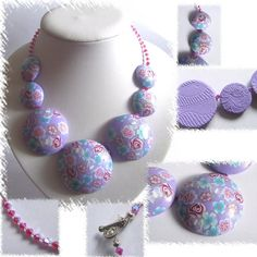 Beautiful millifiori hollow bead necklace by Lavilia on Etsy, €25.00