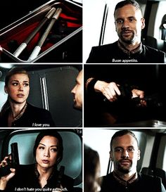 """Hunter: Buon appetito. Bobby: I love you. May: I don't hate you quite as much. #Marvel Agents of S.H.I.E.L.D. #AoS #AgentsofSHIELD 3x12 """"The Inside Man"""""""