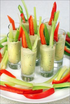 Looking for yummy snacktime dip for the kids? Try these Avocado & Yogurt Veggie Shooters. Get this easy recipe at This Mama Cooks! On a Diet