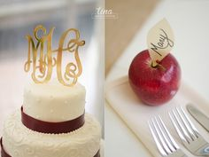 cake-topper-gold-monogram-details-apples-centerpiece-Richmond-virginia-fall-wedding-photographer-tina-take-my-photo-fall-celebrations-reservoir-details-orange-gold-maroon-burlap-crisp-planning-inspiration-ideas-red-apple-placecard-buttercream-red-ribbon-maroon