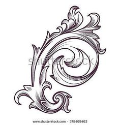 Vintage, graphic element in the Baroque style, in the form of a vegetative pattern, stylized leaves. Template for design in retro style Retro Tattoos, Tribal Tattoos, Filigrana Tattoo, Alas Tattoo, Gravure Metal, Engraving Art, Carving Designs, Baroque Fashion, Tattoo Sketches