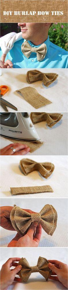 DIY burlap bow ties for rustic wedding