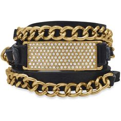 Adjustable Black Leather Fashion Wrap Bracelet with Gold Tone Chain ($23) ❤ liked on Polyvore featuring jewelry, bracelets, leather jewelry, gold tone bangles, goldtone jewelry, snap button jewelry and adjustable bangle