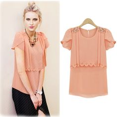 Cute Short Sleeve Chiffon Top WIth Beading Element - Tops  Read More:   http://fashionant.com/cute-short-sleeve-chiffon-top-with-beading-element.html
