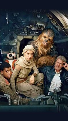 Harrison Ford, Peter Mayhew, John Boyega, and Daisy Ridley in Star Wars: Episode VII - The Force Awakens Star Wars Film, Theme Star Wars, Star Wars Episoden, Chewbacca, Harrison Ford, Luke Skywalker, Stargate, Star Wars Dark Side, Science Fiction
