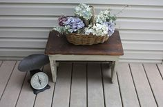 The Black Sheep Shoppe: Rustic Step Stool. Stained in Antique Walnut and base painted in Annie Sloan Chalk Paint Old Ochre.
