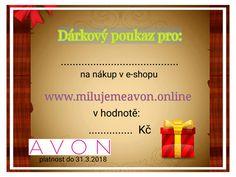 Dárkový poukaz na nákup v e-shopu nebo z katalogu. www.milujemeavon.online