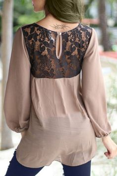 Casual Scoop Neck 3/4 Bell Sleeve Back Lace Spliced Chiffon Blouse For Women Blouses | RoseGal.com Mobile