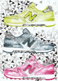 New Balance, watercolor