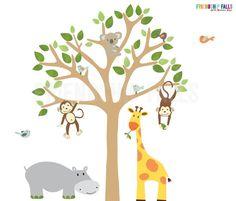 Marvelous Kindergarten Abziehbild Dschungel Wandtattoos Wandtattoo Kinderzimmer Giraffe Elefant L we Ente Ei blau Mint Szene Nursery decals Nurseries and