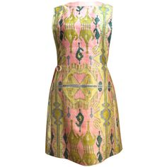 very rare 1960's PIERRE CARDIN hand printed silk tabard dress ($950) ❤ liked on Polyvore featuring dresses, pierre cardin, shift dress, silk shift dress, silk tie dress and pierre cardin dresses