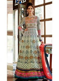 ₹4,610.00 latest designs of suits made from Top: Pure Georgette, Bottom: Santoon, Dupatta: Chiffon and color: grey, work: heavy embroidery work and hand work.