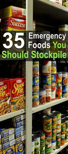 35 Emergency Foods You Should Stockpile. Here you'll find a list of 35 emergency foods you should be stockpiling. Disaster preparedness for your family. Emergency Preparedness Food, Hurricane Preparedness, Emergency Food Storage, Emergency Supplies, Survival Prepping, Survival Skills, Survival Supplies, Survival Gear, Emergency Kits