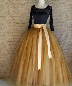 Full length women's tulle skirt in antique gold