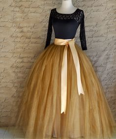 Full length women's tulle skirt in antique gold