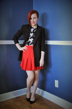 Thrift and Shout blog: Cute Outfit of the Day: Long Blazer; thrift, Moda Inernational Go Internationa;, Target, fashion, pleated skirt, asymmetrical hair, red hair, undercut, houndstooth