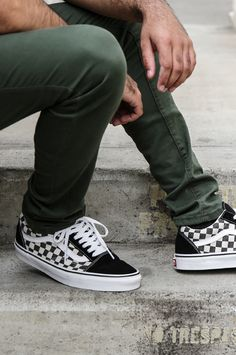 vans old skool black & espresso checkerboard