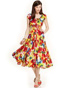 Grace Elements Cap-Sleeve Printed Peasant Dress - Dresses - Women - Macy's