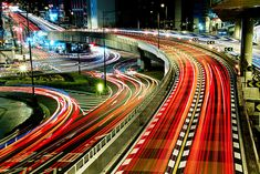 High quality long exposure photography of busy streets at night. - When you…