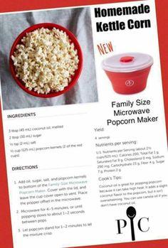 Kettle corn in the PC microwave popcorn maker Pampered Chef Popcorn Maker, Microwave Popcorn Maker, Pampered Chef Party, Pampered Chef Recipes, Microwave Kettle Corn Recipe, Pampered Chef Products, Popcorn Bowl, Appetizer Recipes, Snack Recipes