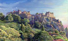 "Edinburgh Castle  Oil Painting on Board, 72.5x43.5cm (28.5""x17""). : Andy McGuire Artist Art Artwork Portfolio Gallery Oil Painting Pastel Drawing Photographer Photo Photograph Panorama Scotland"