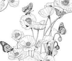 Poppies and Butterflies. by art_on_fabric