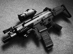"""Looks like SCAR PDW (PDW = Personal Defense Weapon) with 6.75"""" barrel. In 5.56mm only. Military Weapons, Weapons Guns, Guns And Ammo, Katana, Assault Weapon, Assault Rifle, Fn Scar, Rifles, Battle Rifle"""