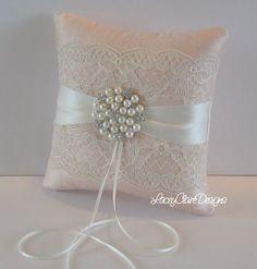 Nupcial del cordón anillo portador almohada para boda  hecha