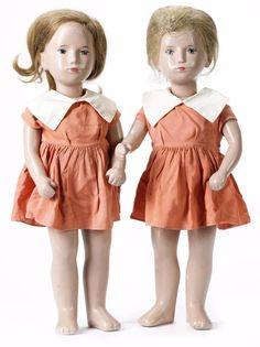 "Pair of 20"" gypsum Sasha Studio dolls, wearing matching original outfits, with blonde human hair wig and hand-painted features by the artist, Switzerland, 1960-65, by Sasha Morgenthaler."