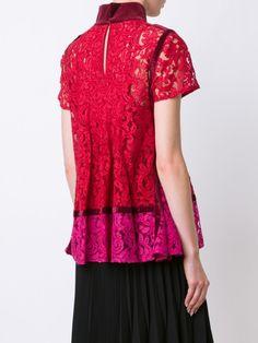 Sacai floral lace pintuck blouse