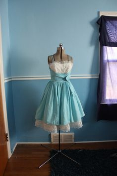 vintage 50s gingham and lace party dress, $129.00