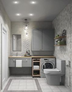 Most Popular Small Bathroom Remodel Ideas on a Budget in 2018 This beautiful look was created with cool colors, and a change of layout. Modern Laundry Rooms, Laundry Room Design, Laundry In Bathroom, Modern Bathroom, Master Bathroom, Shower Bathroom, Small Space Bathroom, Bathroom Design Small, Bathroom Interior Design