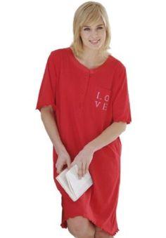 Jessica London Plus Size Satin Trim Cotton Sleepshirt By Dreams & Co Classic Red,1X/2X Jessica London. $12.49