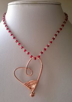 Copper wirework heart with a red beaded chain Wire Work, Workshop, About Me Blog, Copper, Jewelry Making, Valentines, Necklaces, Pendant Necklace, Chain
