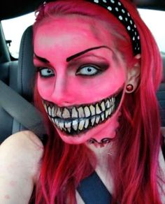 Crazy Halloween Makeup Ideas (pink,pink hair,halloween,makeup,facepaint,face paint,halloween makeup,halloween facepaint,halloween face paint,halloween bodypaint)