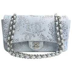 Preowned Chanel Blue Swarovski Crystal  Flap Bag ($4,495) ❤ liked on Polyvore featuring bags, handbags, shoulder bags and blue