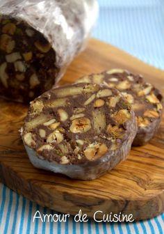mendiants au chocolat en forme de saucisson, cadeau de noel