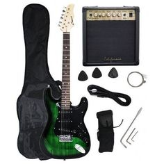 Crescent Electric Guitar Strap Cord Green Black Gigbag Amp String Music Fret for sale online Black Electric Guitar, Cool Guitar, Cutaway, Musical Instruments, Musicals, Cord, Shoe Bag, Amp, Stuff To Buy